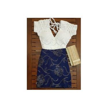 Saia Kesses com bordado Azul Escuro KE03646