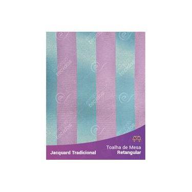 Imagem de Toalha De Mesa Retangular Em Tecido Jacquard Azul Tiffany E Rosa Listrado Tradicional