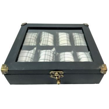 caixa porta relógio de pulso masculino em mdf para gaveta  - preto para 8 relógios