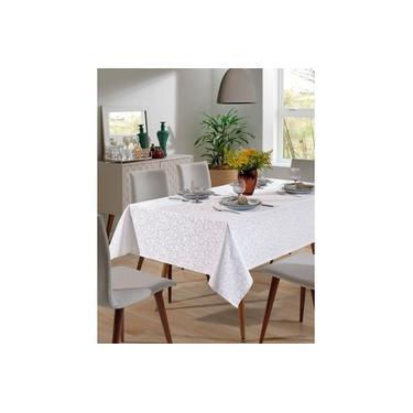Imagem de Toalha de Mesa - Jacquard Requinte - Floral - Branca - Quadrada - 4 Lugares - Dohler
