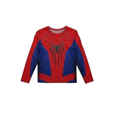 Camiseta Infantil Manga Longa Homem Aranha