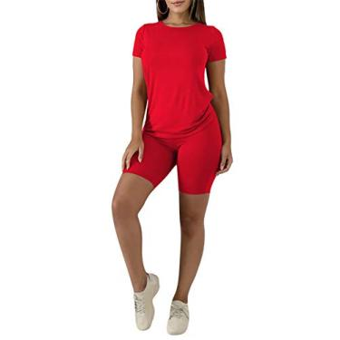 Conjuntos de roupas femininas de 2 peças, conjuntos de roupas femininas, macacões para mulheres, conjuntos de shorts de ciclista, lindas roupas de verão, Cotton-red, X-Large