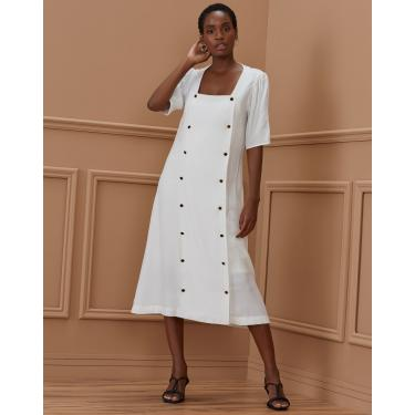 vestido midi abotoamento duplo Feminino AMARO OFF-WHITE EGG
