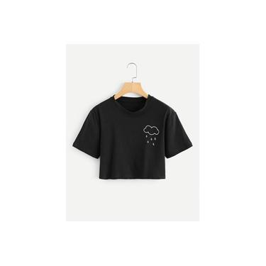 Camiseta Feminina Cropped Blusinha Curta Ref01 Cor Preto Nuvem Estilo Tumblr