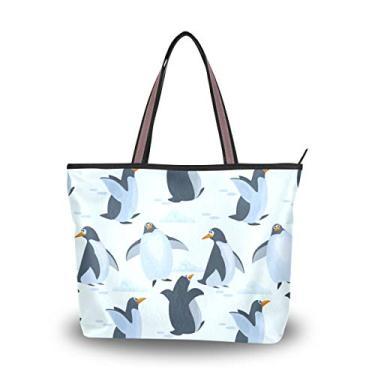 Bolsa de ombro com alça superior, pinguins fofos no gelo, bolsa de ombro para mulheres, Multicolorido., Large