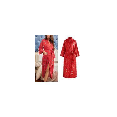 Robe feminino quimono capa estampado pijamas de cetim seda camisola