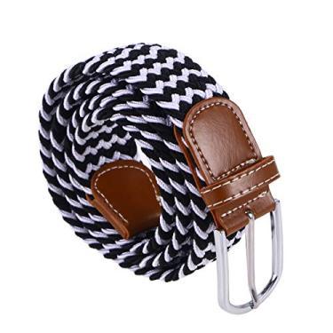 Vosarea Cinto de lona unissex com fivela de metal elástica (preto e branco)