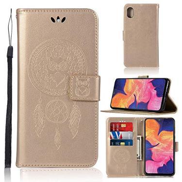 Capa carteira para iPhone 6S Plus em relevo 3D em relevo com sino de vento coruja PU couro flip capa para iPhone 6S Plus/iPhone 6 Plus - Dourado