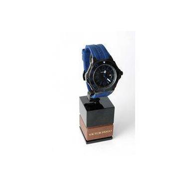 4861e8c0a01 Relógio Victor Hugo Vh10115gsb 02 Preto Pulseira Borracha Azul Calendário