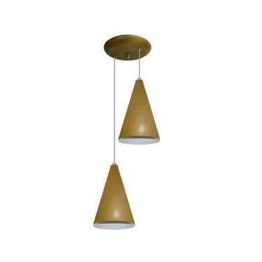 Luminária Pendente Colorido Duplo para Sala Quarto Cozinha - Dourado