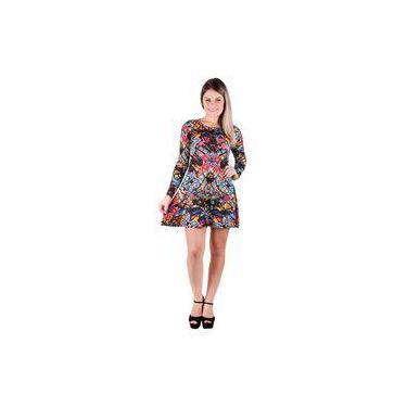 61485a9c706a Vestido Banna Hanna Visco Renda Ft E Ct Floral Azul/Rosa/Amarelo/Preto