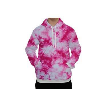 Moletom Blusão Unissex Estampa Tie Dye Rosa e Branco 3D Jaqueta Sublimado