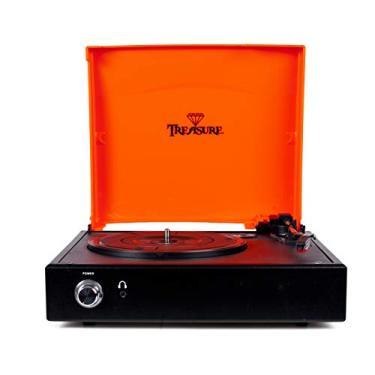 Vitrola Toca Discos Treasure - Orange/Black com software de gravação para MP3