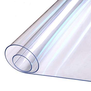 Imagem de Toalha de mesa transparente Cabilock Toalha de mesa, pano de mesa, à prova de derramamento, tapete de mesa impermeável para mesa de café, mesa de jantar, festas 140 x 80 cm (transparente)