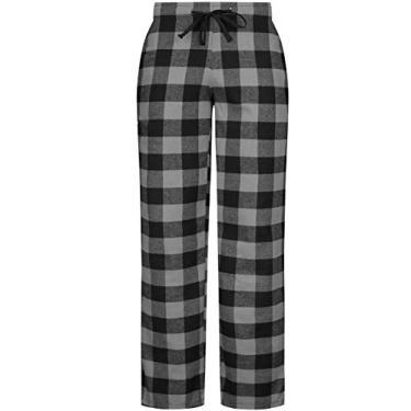 Calça de pijama feminina de flanela da Leonal, xadrez de búfalo, calça de pijama para relaxar à noite, Grey Black Buffalo, Small