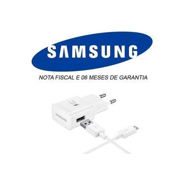 Carregador de Celular Samsung Galaxy Original Branco + Cabo Usb V8 Original J1 j2 j3 j4 j5 j7 Gran Prime Pró