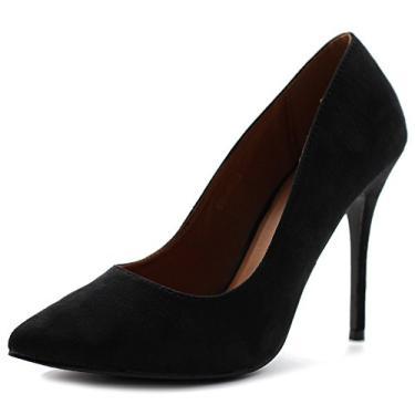 Ollio sapato feminino de camurça sintética bico fino salto alto multicolorido, Preto, 8.5