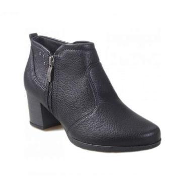 Bota Ankle Boot Piccadilly com Zíper Preto 331037-3 Tamanho:38;Cor:Preto