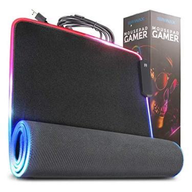 Imagem de Mouse Pad LED RGB Gamer Gaming Tecido Preto Speed Tapete Extra Grande 80cm x 30cm Costurado MousePAD