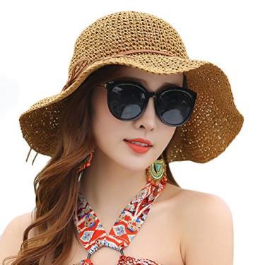 Chapéu de palha feminino dobrável feito à mão chapéu de palha de papel aba larga chapéu chapéu de verão praia chapéu flexível (cáqui)