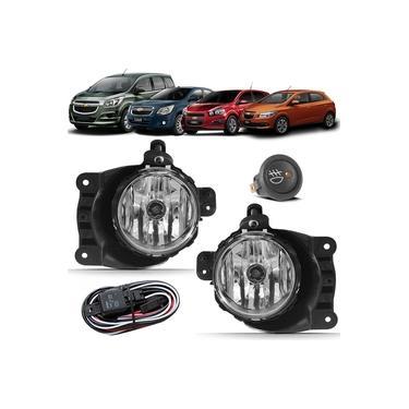 Kit Farol de Milha Neblina Chevrolet Cobalt Spin Novo Prisma Onix LT LTZ 2013 á 2018 - Botão Alternativo