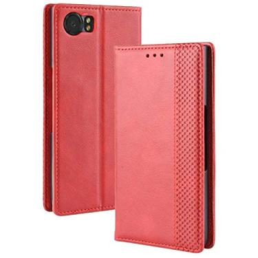 LUSHENG Capa para BlackBerry Keyone, capa flip ultrafina de couro com função de suporte para cartão de crédito, capa interna macia de TPU para BlackBerry Keyone - vermelha
