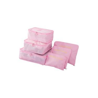 Kit 6 Sacos Bolsas Organizador Mala Roupas Bagagem Viagem Rosa Claro