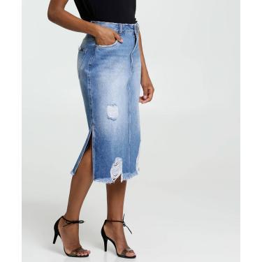 Saia Feminina Midi Jeans Destroyed Marisa