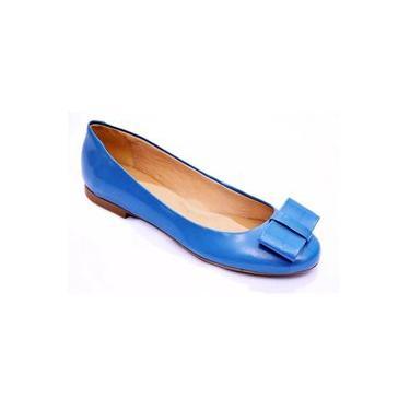 Sapatilha Casual Feminina Verniz Laço Confortável Azul Turquesa