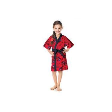 Roupão Infantil P Aveludado Ladybug 1 peça Vermelha - Lepper