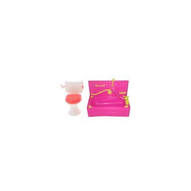 Imagem de Acessórios Diminutos Plásticos Da Casa De Boneca Do Jogo Do Toalete Da Banheira Para Bonecas Barbie