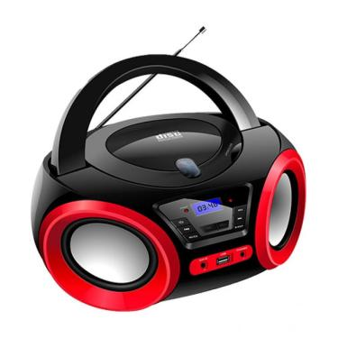 Rádio portátil FM MP3 Bluetooth USB BD-1370 Lenoxx preto e vermelho