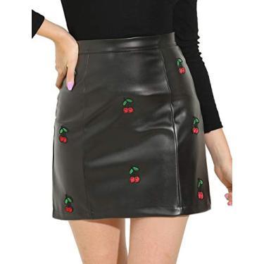 Mini saia feminina Allegra K de couro sintético bordado cereja em linha A, Preto, X-Large