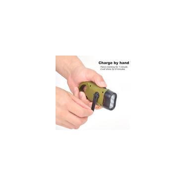 Lanterna com manivela externa durável pequena, lanterna, dínamo manual LED ferramenta de emergência para escalada para lâmpada de tocha de acampamento