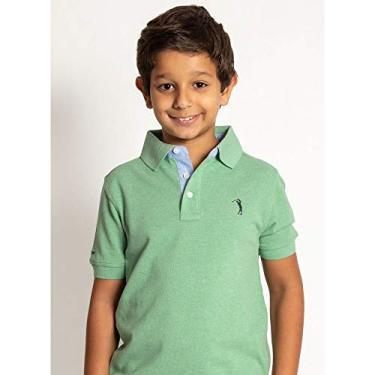 Camisa Polo Aleatory Infantil Lisa Mescla-Verde Claro-6