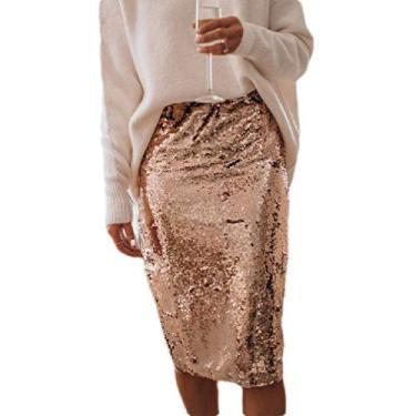 Saia feminina Fubotevic com lantejoulas divididas e cintura alta justa, Dourado, S