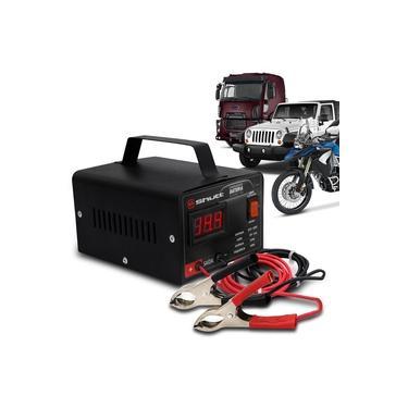 Carregador Bateria Automotivo Shutt Bivolt 12v 10a 120w Com Voltímetro Auxiliar Partida Preto