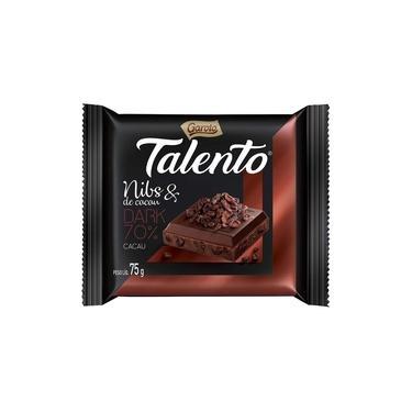 Chocolate Garoto Talento Tablete Dark Nibs de Cacau 75g Embalagem com 15 Unidades