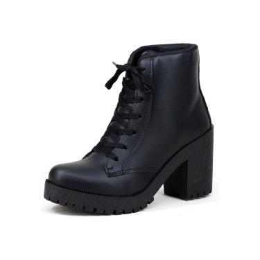Imagem de Bota Coturno Tratorado Mr Shoes Cano Curto Preto Fosco  feminino