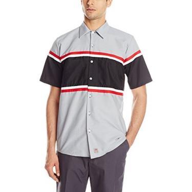 Imagem de Camisa masculina Red Kap Performance Tech com orifício de botão vertical, Grey/Black With Red/White, XX-Large