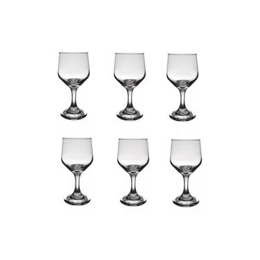 Conjunto De Taças 6 Peças Água Vinho 300ml Vidro Transparente Bistrô Cisper