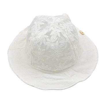 Chapéu de sol casual de renda com flores, chapéu de pescador, chapéu de verão para bebês (branco)