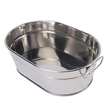 Cabilock Banheira de metal galvanizado, aço inoxidável, banheira, balde de gelo, lanches, bandeja de servir alimentos para festas
