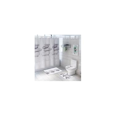 Imagem de Conjunto de cortina de chuveiro de reflexo de pedra à prova d'água Flanela colorida banheiro toalete Tapete de quatro peças Tapete de porta Tapete de banheiro Tapete de banheiro 4/3/1 unidades 4pcs conjunto inteiro