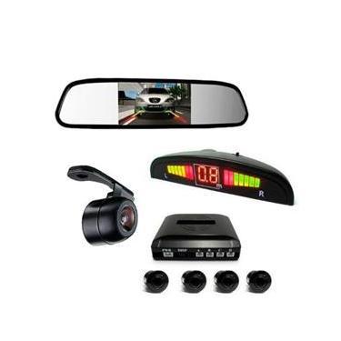Kit Sensor De Estacionamento Câmera De Ré Espelho Retrovisor - Prata