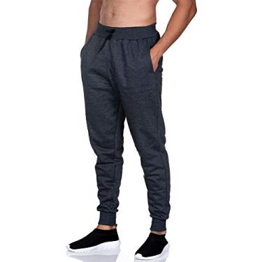 Calça Moletom Masculina Jogger Slim Fit Club 21 Cor:grafite;tamanho:p
