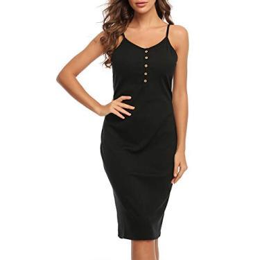 MACLLYN Vestido feminino básico de malha canelada sem mangas com decote em V, Preto, 2X