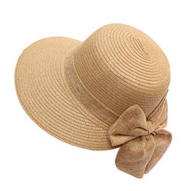 PRETYZOOM Chapéu feminino da moda com laço chapéu de palha para férias chapéu de sol de praia redondo (cáqui, tamanho M) chapéu de sol de verão