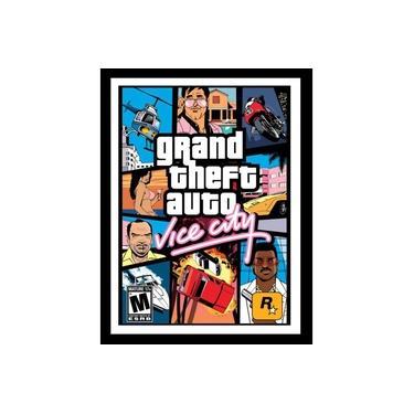 Quadro Com Vidro Gta Vice City Game Classico 40x60 Cm