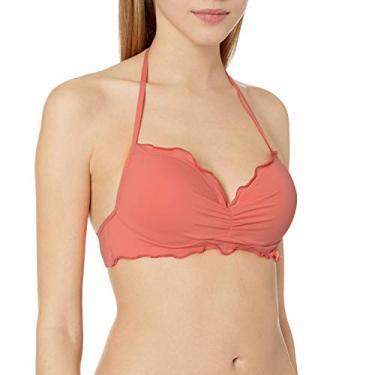 Hobie – Biquíni feminino com aro, frente única, hipster, Coral//Solids, Small